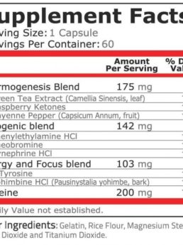 Black Fire pure nutrition fact