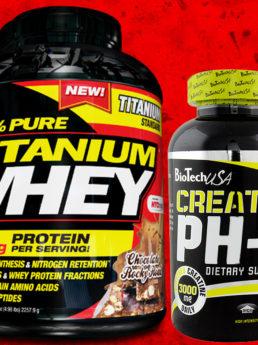 стак 100% Pure Titanium Whey + Creatine pH-X + шейкър