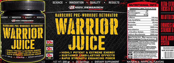 WARRIOR JUICE - енергетик и горене на мазнини в едно