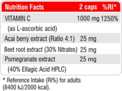 Витамин С 1000 + Акай, Червено цвекло и Нар fact